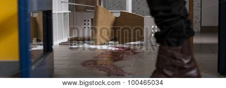 Detective Inspecting Crime Scene