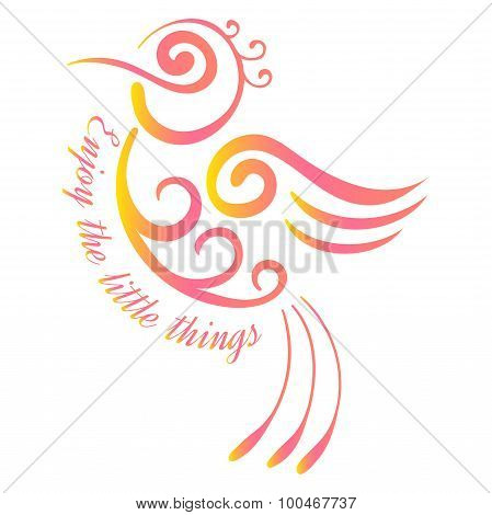 Colorful tattoo bird Tropical bird vector Exotic bird Little bird Enjoy The Little Things