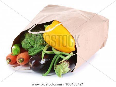 Bag of fresh vegetables isolated on white