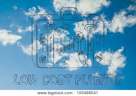 Low Cost Flights, Bag With Stickers