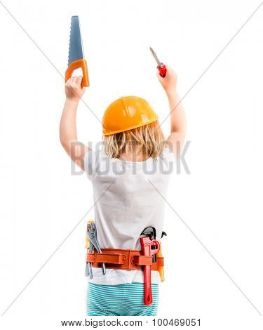 little child with helmet and hands up with instruments from back