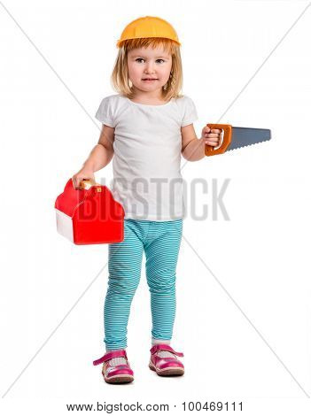 little girl in helmet playing with instruments isolated on white background