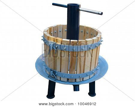 Hand Grapes Wine Press Isolated Over White