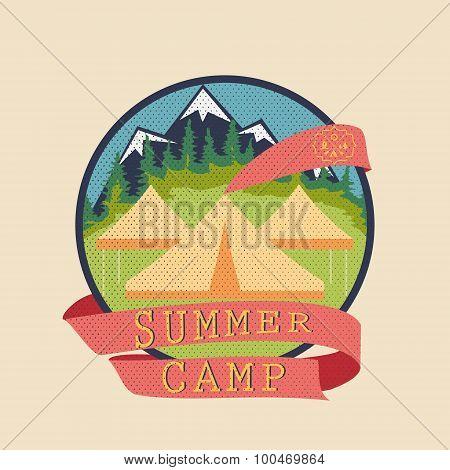 Summer Camp, Adventure Badge Graphic Design Logo Emblem