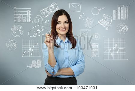 Business woman thinking of her plans