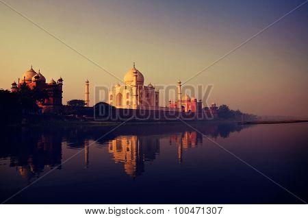Taj Mahal India Seven Wonders Concept