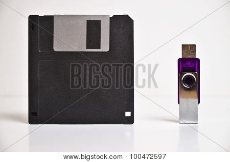 Floppy disk diskette and USB flash drive memory stick
