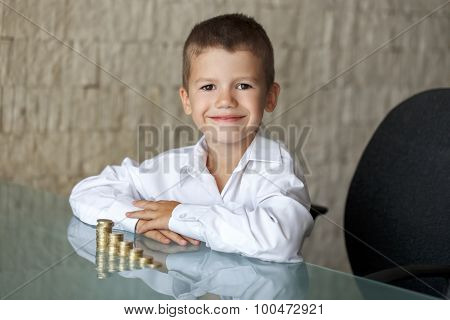 Little Millionaire Boy With Euro Columns