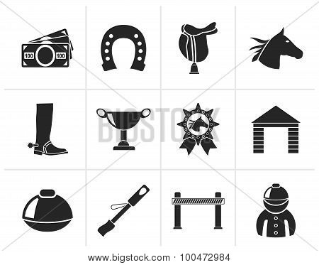 Black Horse Racing and gambling Icons