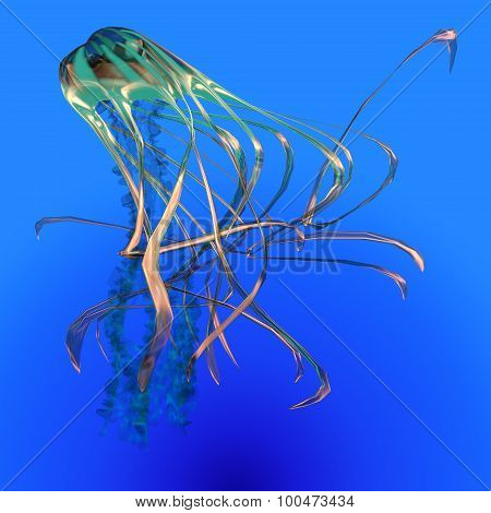 Teal Glowing Jellyfish