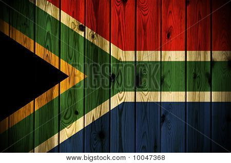 Wooden South Africa Flag