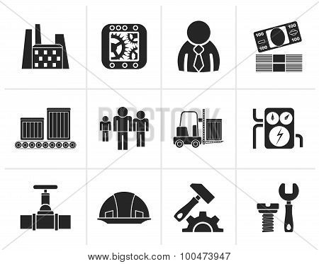 Black Business, factory and mill icons