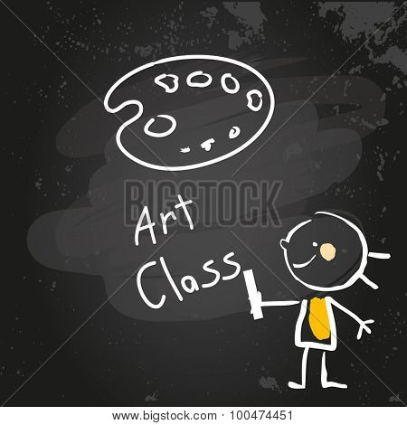 First grade art class education, hand drawn on blackboard with chalk. Hand drawing and writing doodle style, sketchy illustration.