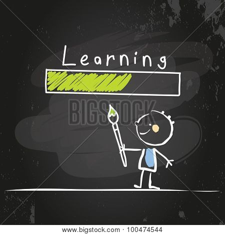 Kids educational concept vector illustration, chalk on blackboard doodle style drawing.