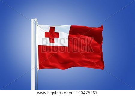 Flag of Tonga flying against a blue sky.