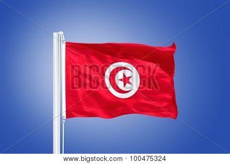 Flag of Tunisia flying against a blue sky.