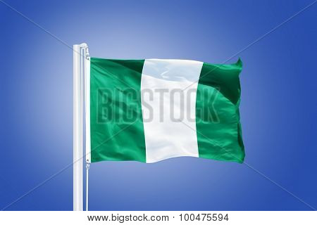 Flag of Nigeria flying against a blue sky.