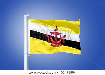 Flag of Brunei flying against a blue sky.