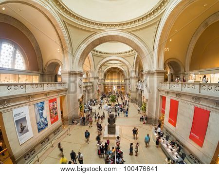 NEW YORK,USA - AUGUST 14,2015 : Visitors at the lobby of the Metropolitan Museum of Art in Manhattan