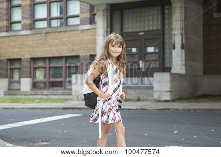 eight years old school girl