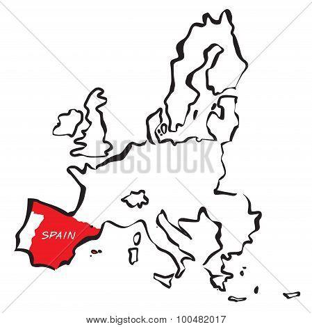 Drawn European Union Borders Spain