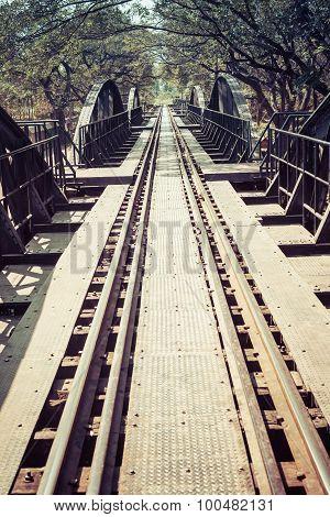 Vintage Bridge On River Kwai