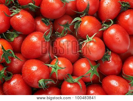 Cherry tomato Raw fruit and vegetable backgrounds overhead perspective, part of a set collection of healthy organic fresh produce