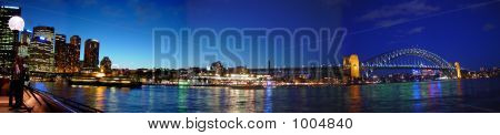 Panoramic View Of Circular Quay And Sydney Harbour Bridge
