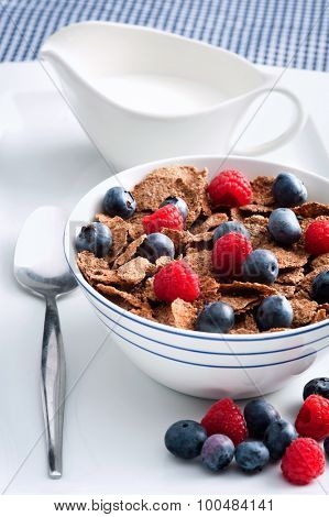 Bowl of wholewheat bran cereal with fresh berries; healthy eating concept