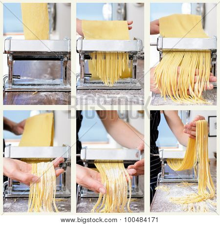 Collage of fresh raw pasta rolling and cutting process with pasta machine on countertop