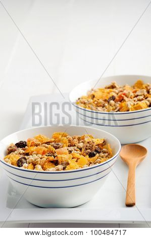Organic roasted granola for breakfast