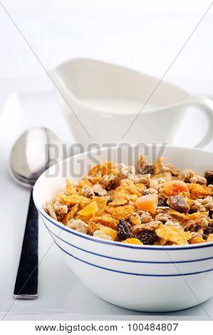 Healthy breakfast of granola and milk