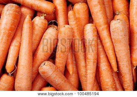 Carrots Raw fruit and vegetable backgrounds overhead perspective, part of a set collection of healthy organic fresh produce
