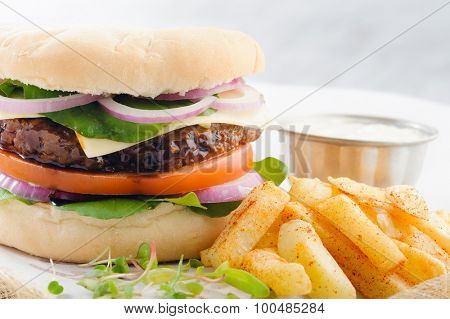 Close up on burger with thick beef patty, tomato, onion and lettuce with seasoned potato chips french fries