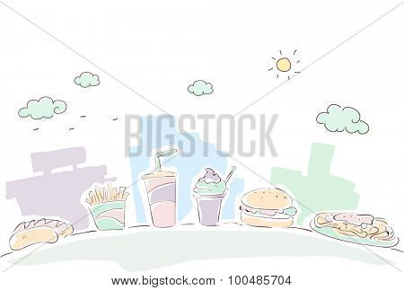 Sketchy Illustration of a Line of Food Commonly Served at Fast Food Chains