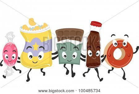 Mascot Illustration Featuring a Group of Junk Food