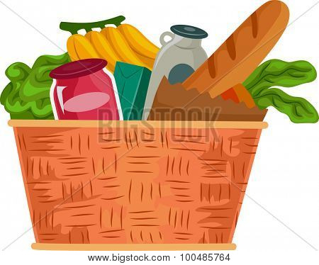 Illustration of a Grocery Basket Filled with Food Supplies