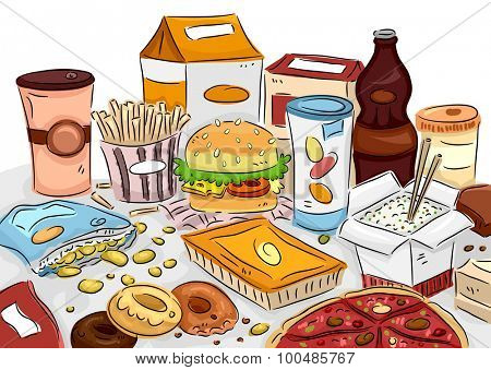 Illustration of a Bunch of Junk Food Scattered All Over the Table