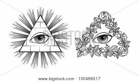 Set All seeing eye, pyramid, light and roses
