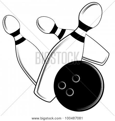 An image of a bowling ball hitting the pins.