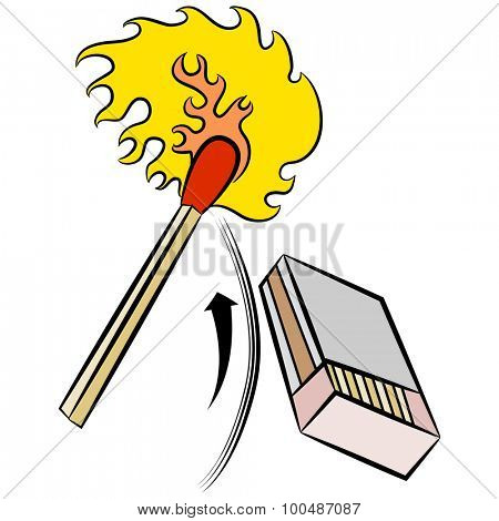 An image of a matchstick being ignited by striking a matchbox.