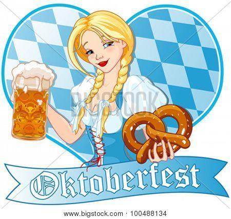 Funny German girl drinking beer