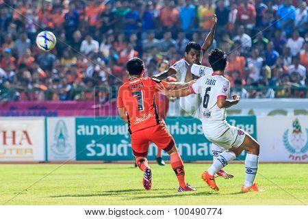 Sisaket Thailand-march 7: Guy Hubert Of Saraburi Fc (white) In Action During Thai Premier League Bet