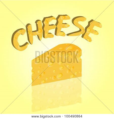 Vector illustrated triangular piece of cheese