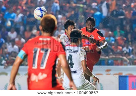Sisaket Thailand-march 7: Adefolarin Durosinmi (orange) Of Sisaket Fc. Head The Ball During Thai Pre