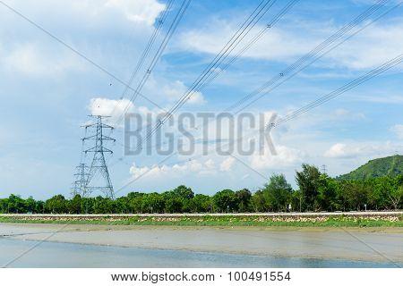 Powerline with blue sky