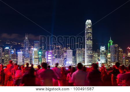 Hong kong city night with crowded of people