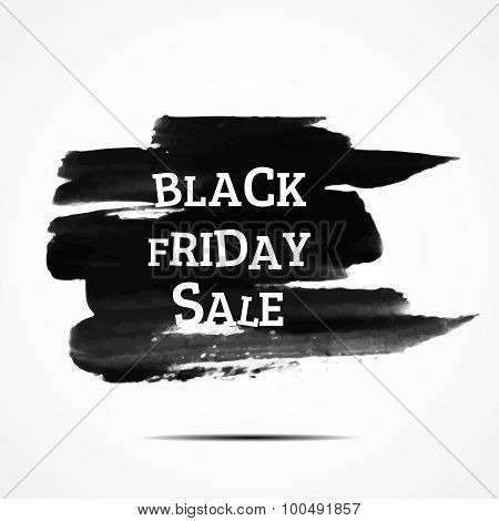 Black Friday Sale. Vector Illustration. Clearance. Simple Ad On Watercolor Background.