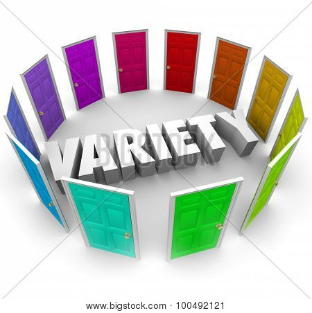 Variety word in 3d letters surrounded by doors representing choices, alternatives and options for different paths forward in life or career