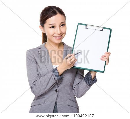 Asian Businesswoman show with the clipboard